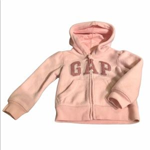 Baby Gap light pink sparkly logo hoodie